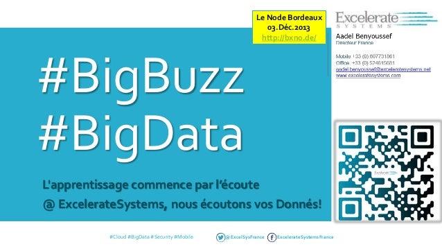 Le Node Bordeaux 03.Déc.2013 http://bxno.de/  #BigBuzz #BigData L'apprentissage commence par l'écoute @ ExcelerateSystems,...