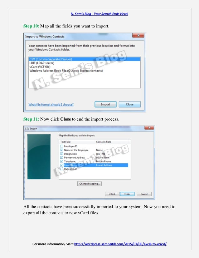 Excel to vCard - Import Excel Contacts to vCard Files