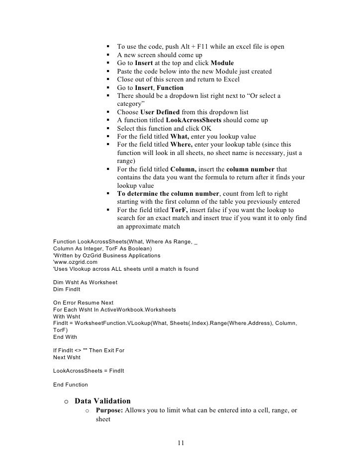Advanced Microsoft Excel Training Handout