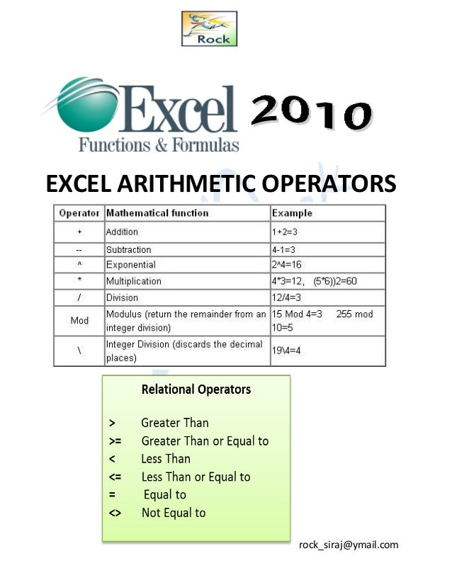 Excel Type Of Operator