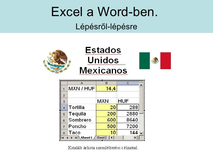 Excel a Word-ben.    Lépésről-lépésre