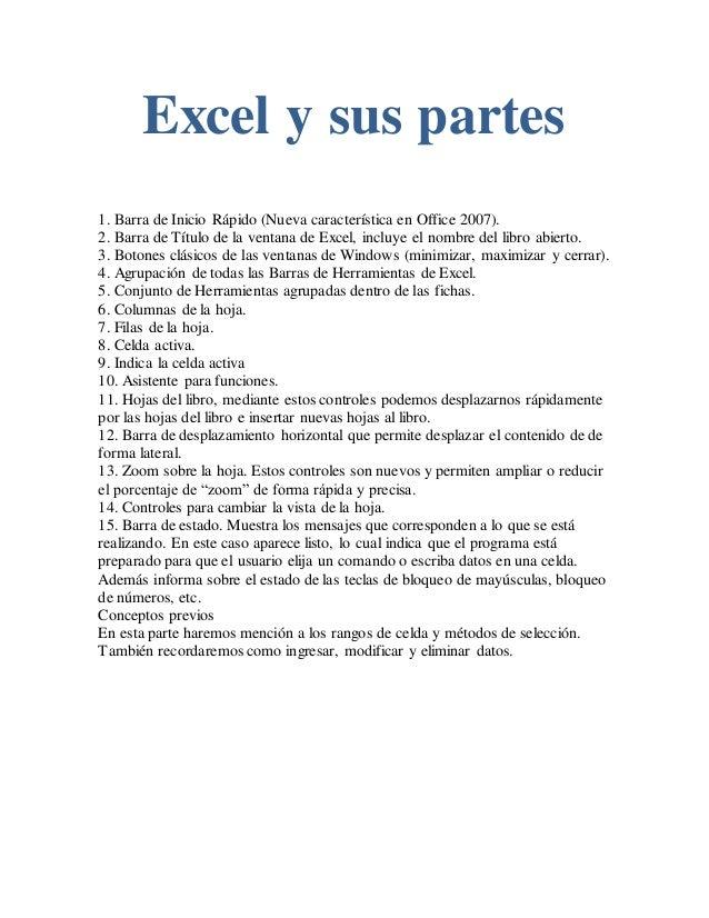 Excel y sus partes word.