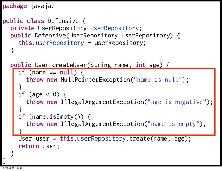 package javaja;public class Defensive {  private UserRepository userRepository;  public Defensive(UserRepository userRepos...