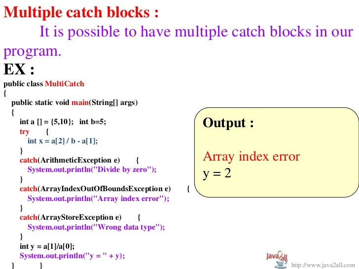 Write a program for exception handling in java