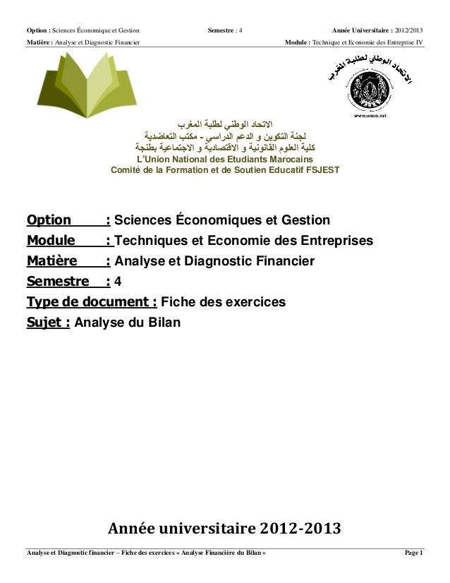 Option : Sciences Économique et Gestion Semestre : 4 Année Universitaire : 2012/2013Matière : Analyse et Diagnostic Financ...