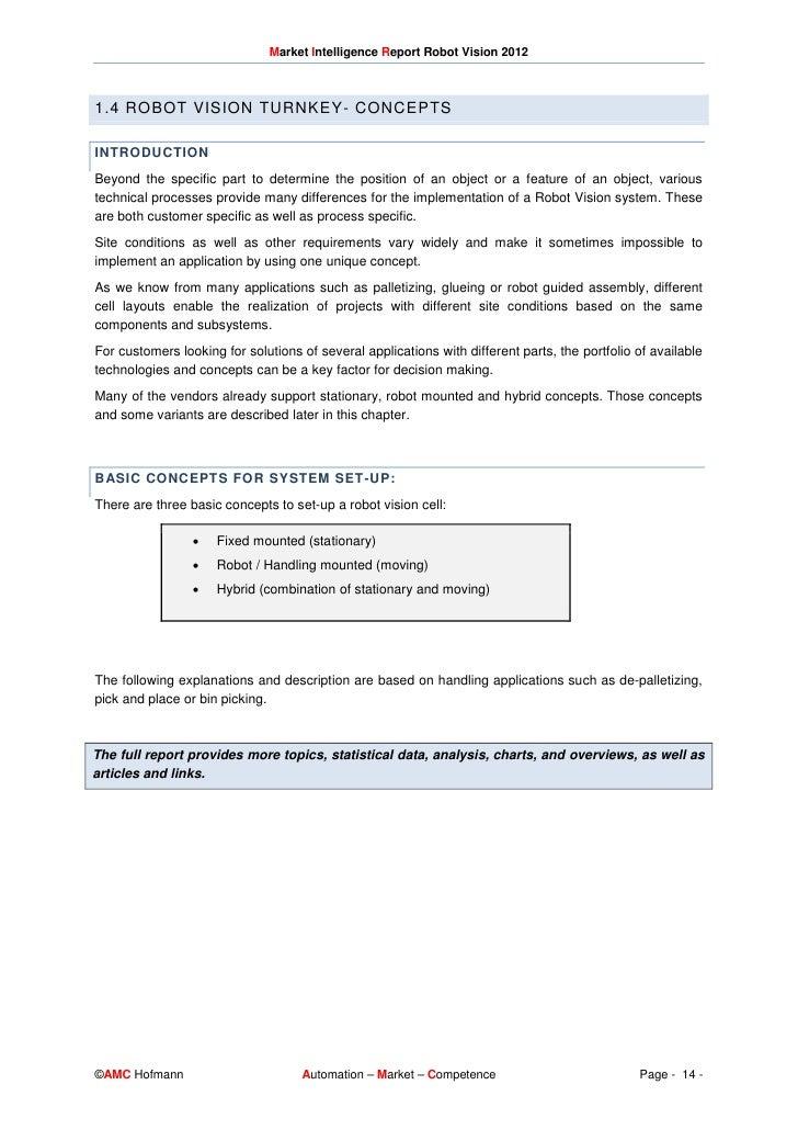 Excerpt Of Market Intelligence Report Robot Vision 2012