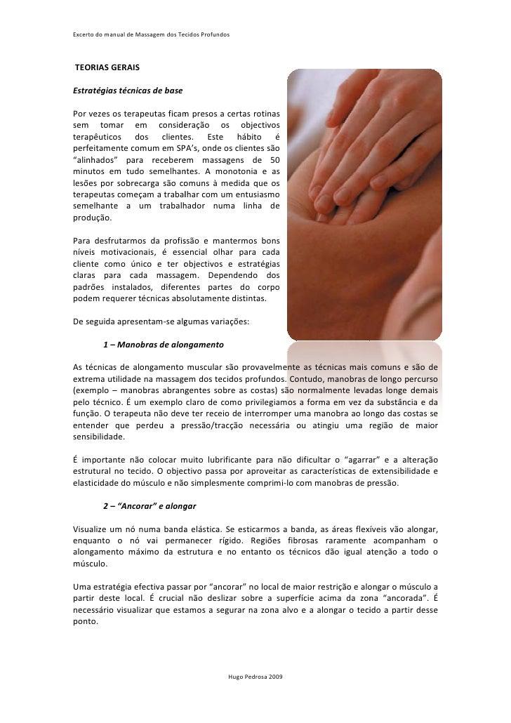 Excerto do manual de Massagem dos Tecidos Profundos                            em    TEORIAS GERAIS  Estratégias técnicas ...