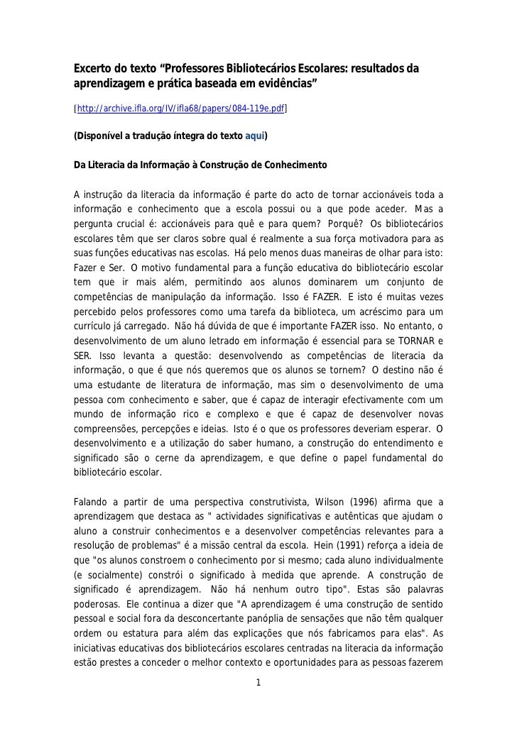 """Excerto do texto """"Professores Bibliotecários Escolares: resultados daaprendizagem e prática baseada em evidências""""[http://..."""
