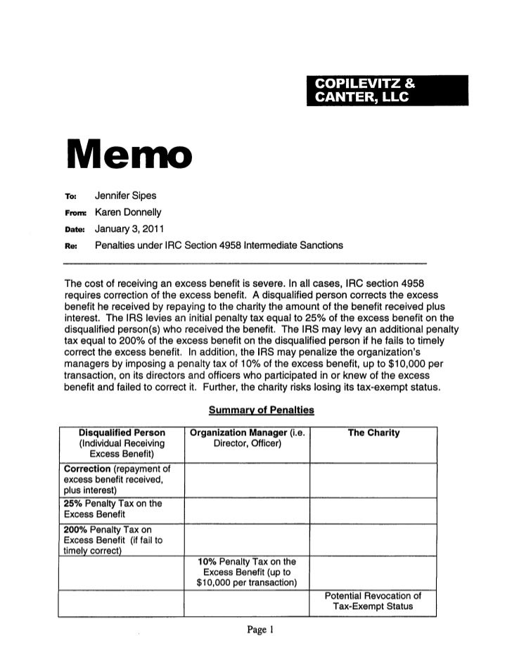 Excess benefit memo 1 3-2011