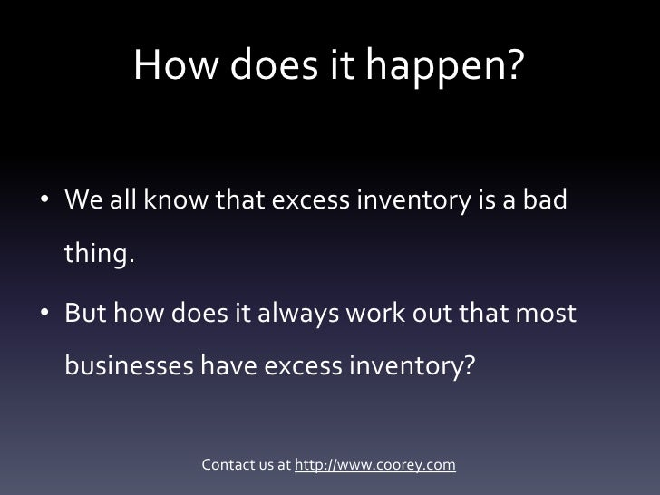 Excess inventory - how do companies end up with it? Slide 2
