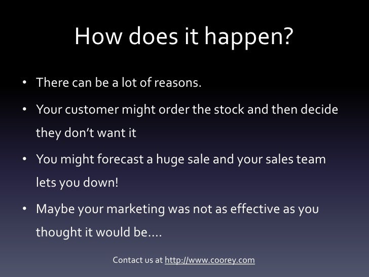 Excess inventory - how do companies end up with it? Slide 3