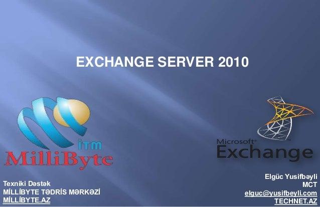 EXCHANGE SERVER 2010                                         Elgüc YusifbəyliTexniki Dəstək                               ...