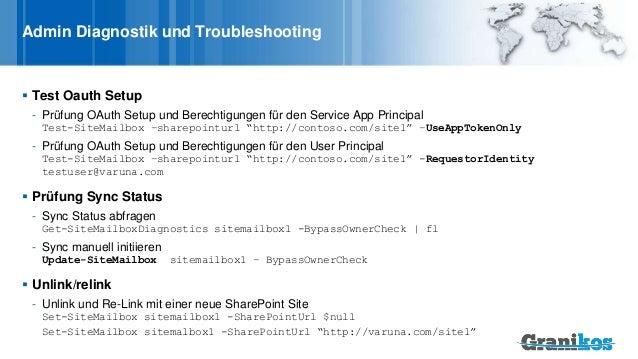 Admin Diagnostik und Troubleshooting  Test Oauth Setup - Prüfung OAuth Setup und Berechtigungen für den Service App Princ...