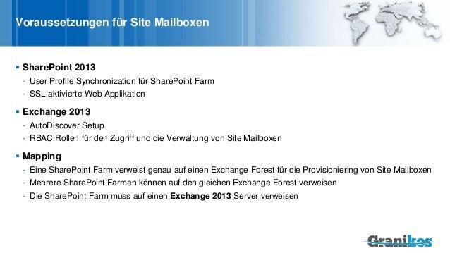 Voraussetzungen für Site Mailboxen  SharePoint 2013 - User Profile Synchronization für SharePoint Farm - SSL-aktivierte W...