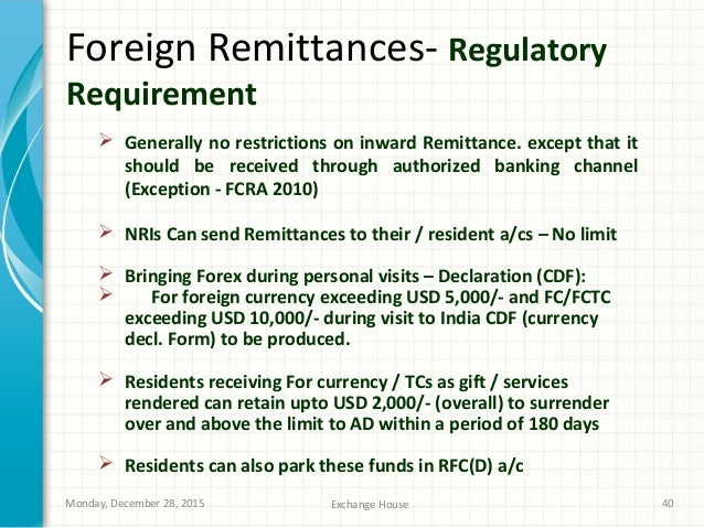Forex outward remittance limit