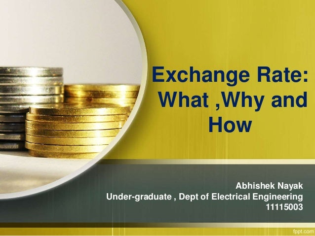 Exchange Rate: What ,Why and How Abhishek Nayak Under-graduate , Dept of Electrical Engineering 11115003