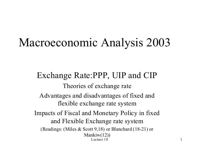 Lecture 18 1 Macroeconomic Analysis 2003 Exchange Rate:PPP, UIP and CIP Theories of exchange rate Advantages and disadvant...