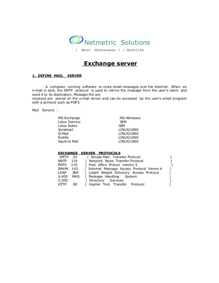 Netmetric Solutions                         (     Meer   Shahanawaz ) ( Abdullah                                Exchange s...