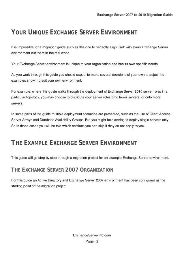 Exchange Server 2007 To 2010 Migration