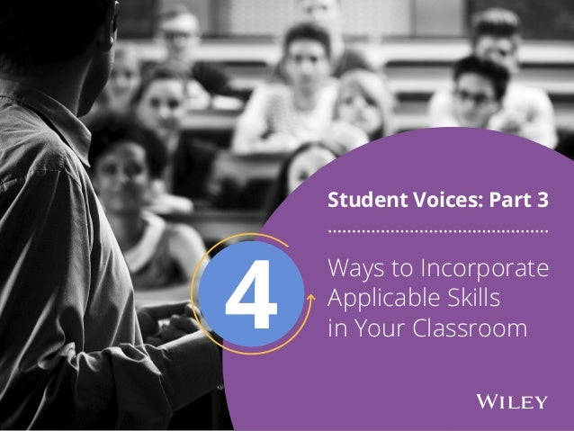 Ways to Incorporate Applicable Skills in Your Classroom Student Voices: Part 3 4