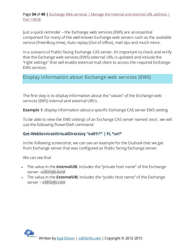 Exchange web services manage the internal and external url