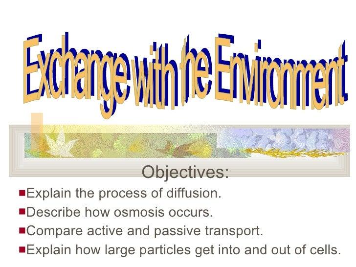<ul><li>Objectives: </li></ul><ul><li>Explain the process of diffusion. </li></ul><ul><li>Describe how osmosis occurs. </l...