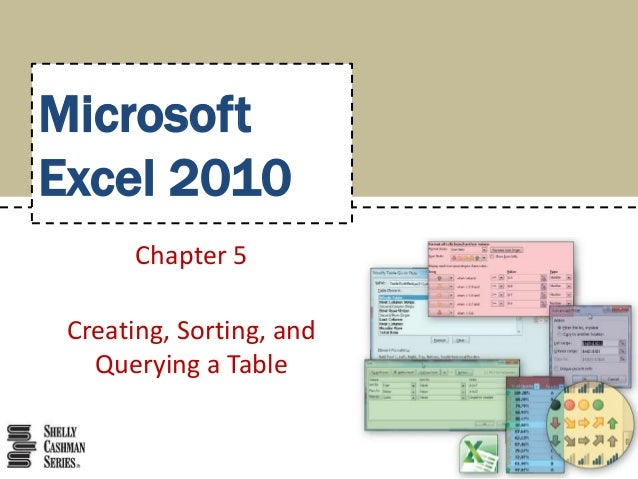 MicrosoftExcel 2010       Chapter 5 Creating, Sorting, and   Querying a Table