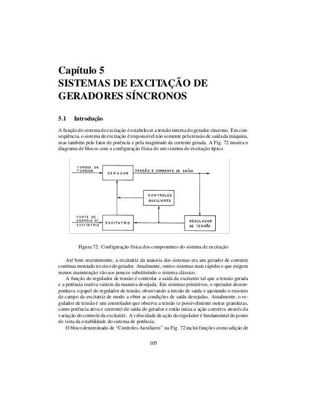 Capítulo 5 SISTEMAS DE EXCITAÇÃO DE GERADORES SÍNCRONOS 5.1 Introdução A função do sistema de excitação é estabelecer a te...