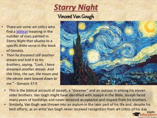 art criticism of starry night paper Vincent van gogh's starry night:  insights from poetry, art history, and astronomy  vincent s stassi  art history 1b, section 2  dr elaine o'brien .