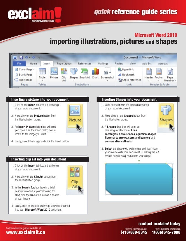 Free Microsoft Word 2010 Quick Reference Guide From Exclaim