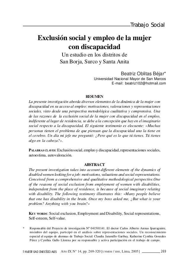 Trabajo Social          Exclusión social y empleo de la mujer                    con discapacidad                         ...