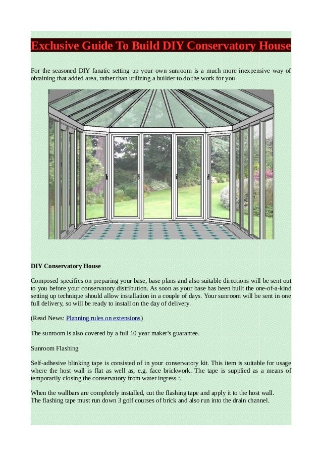 how to build your own conservatory