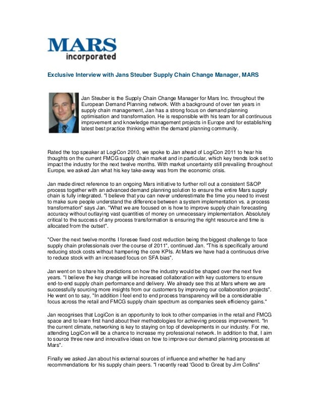 Exclusive Interview with Jans Steuber Supply Chain Change Manager, MARS Jan Steuber is the Supply Chain Change Manager for...
