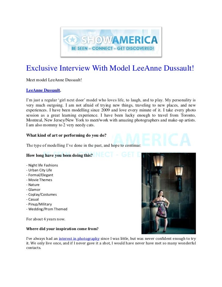 Exclusive Interview With Model LeeAnne Dussault!Meet model LeeAnne Dussault!LeeAnne Dussault.I'm just a regular 'girl next...