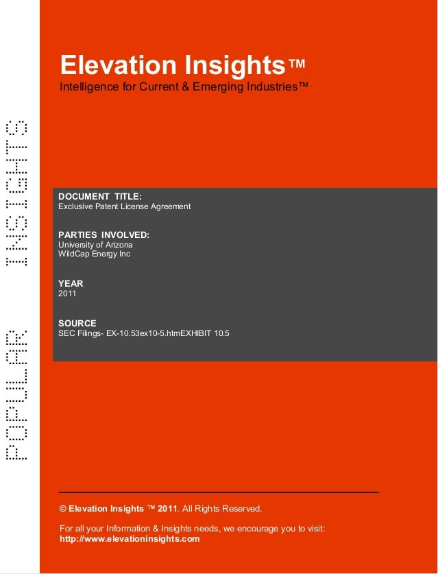 Elevation Insights™  |  Exclusive Patent License Agreement  (University of Arizona, Wild Cap Energy Inc)