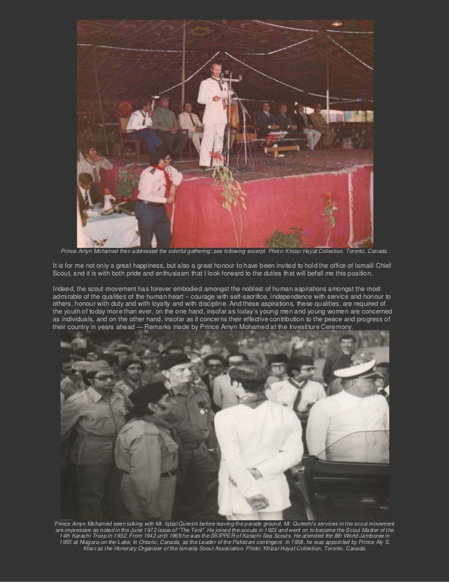 Prince Amyn Mohamed then addressed the colorful gathering; see following excerpt. Photo: Khizar Hayat Collection, Toronto,...