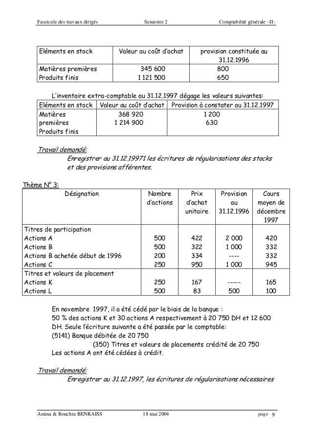 Fascicule des travaux dirigés Semestre 2 Comptabilité générale –II- Amina & Bouchra BENRAISS 18 mai 2004 page 9 Eléments e...