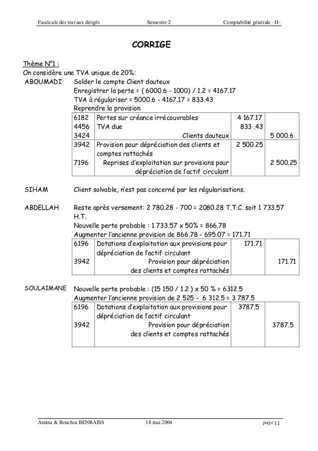 Fascicule des travaux dirigés Semestre 2 Comptabilité générale –II- Amina & Bouchra BENRAISS 18 mai 2004 page 11 CORRIGE T...