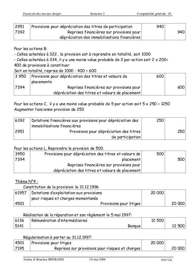 Fascicule des travaux dirigés Semestre 2 Comptabilité générale –II- Amina & Bouchra BENRAISS 18 mai 2004 page 14 2951 7392...