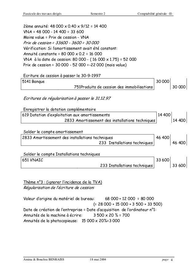 Fascicule des travaux dirigés Semestre 2 Comptabilité générale –II- Amina & Bouchra BENRAISS 18 mai 2004 page 4 2ème annui...