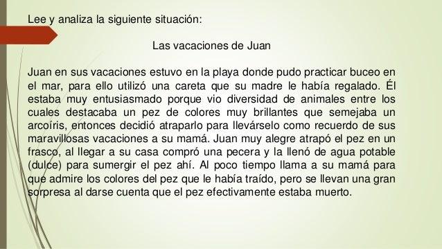 Lee y analiza la siguiente situación: Las vacaciones de Juan Juan en sus vacaciones estuvo en la playa donde pudo practica...