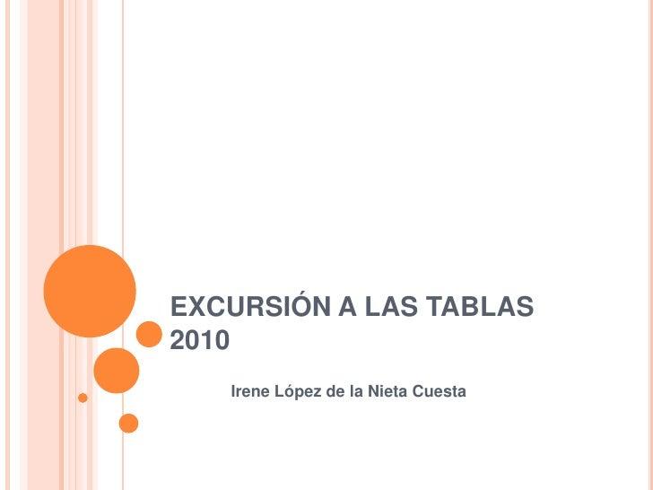 EXCURSIÓN A LAS TABLAS 2010<br />Irene López de la Nieta Cuesta<br />