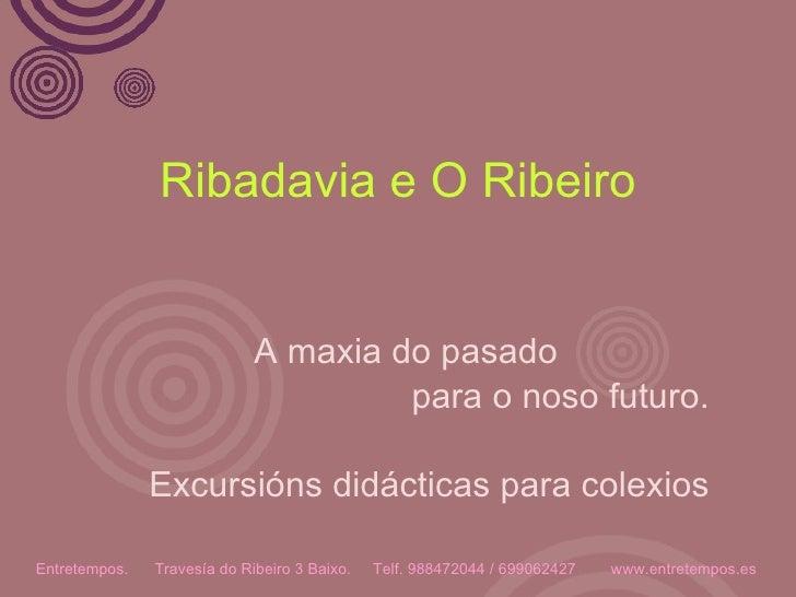 Ribadavia e O Ribeiro A maxia do pasado  para o noso futuro. Excursións didácticas para colexios Entretempos.  Travesía do...