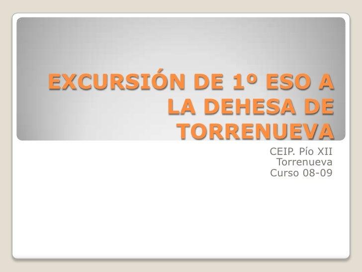 EXCURSIÓN DE 1º ESO A         LA DEHESA DE          TORRENUEVA                 CEIP. Pío XII                  Torrenueva  ...