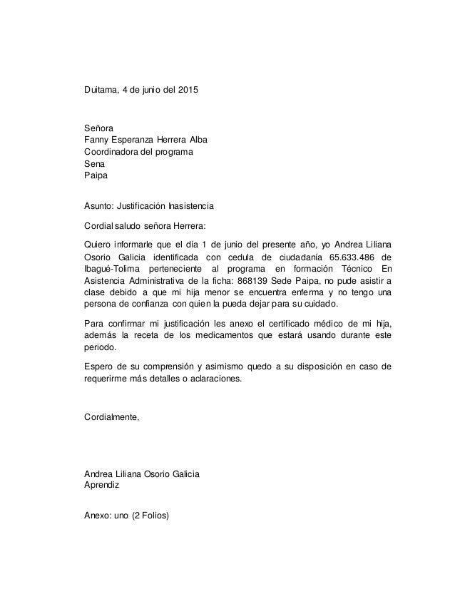 Duitama, 4 de junio del 2015 Señora Fanny Esperanza Herrera Alba Coordinadora del programa Sena Paipa Asunto: Justificació...