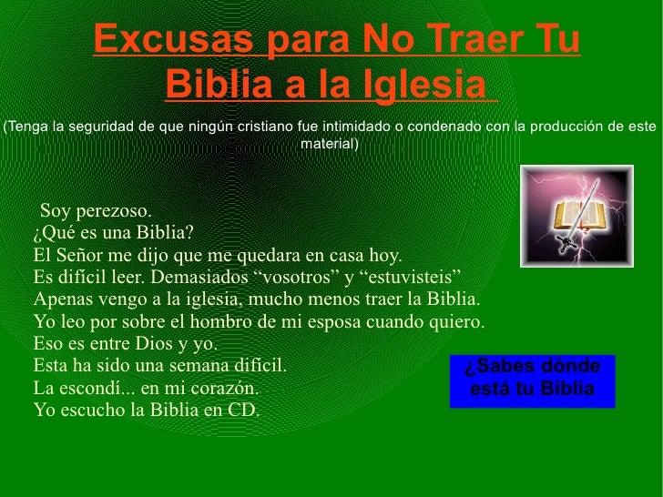 Excusas para No Traer Tu                Biblia a la Iglesia(Tenga la seguridad de que ningún cristiano fue intimidado o co...
