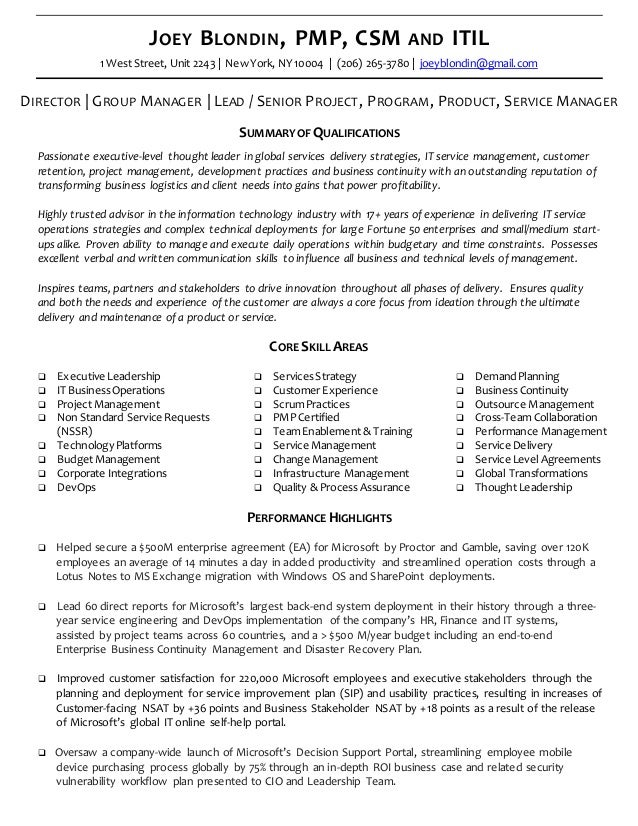 Executive Resume Cv Joey Blondin