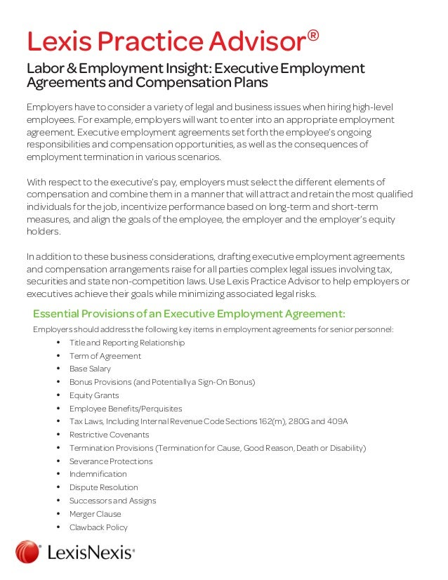 Labor  Employment Insight Executive Employment Agreements And Compe