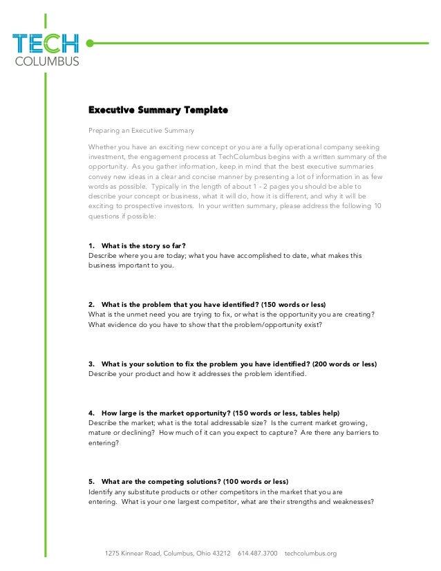 How to Prepare an Executive Summary