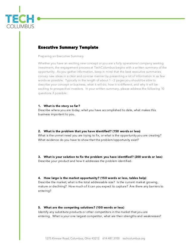 Executive Summary Template Preparing An Executive Summary Whether You Have  An Exciting New Concept Or You ...  An Executive Summary